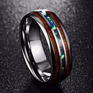 *Unisex Tungsten Hawaiian KOA Wood Abalone Ring